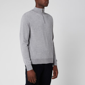 Canali Men's Long Sleeve 1/4 Zip Wool Jumper - Light Grey
