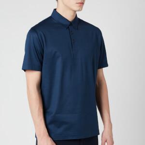 Canali Men's Short Sleeve Cotton Button Polo Shirt - Blue