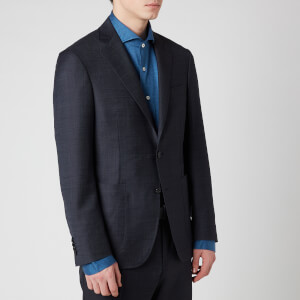 Canali Men's Single Breasted Patch Pocket Kei Wool Jacket - Navy