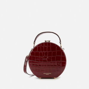 Aspinal of London Women's Hat Box Deep Shine Small Croc Bag - Bordeaux