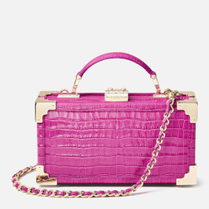 Aspinal of London Women's Trinket Trunk Deep Shine Small Croc Bag - Hibiscus