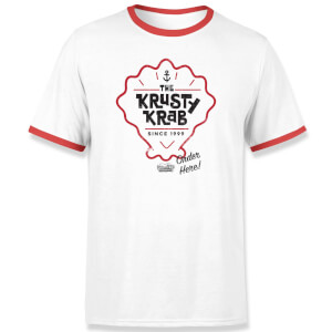 Spongebob Krusty Krab Unisex Ringer T-Shirt - White / Red