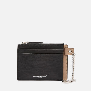 Maison Kitsuné Men's Colour Block Zipped Card Holder - Black