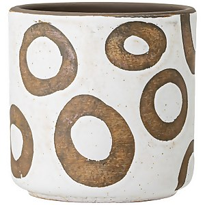 Bloomingville Circle Pattern Flower Pot - White/Terracotta