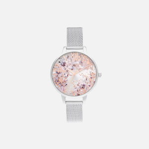 Olivia Burton Women's Abstract Floral Demi Mesh Watch - Silver & Rose Gold