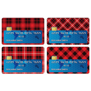 Red Tartan Mix Credit Card Covers