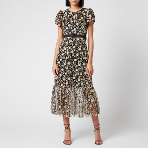 Self Portrait Women's Mesh Sequin Midi Dress - Multi