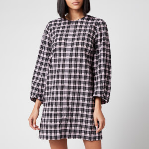 Ganni Women's Seersuker Check Dress - Sweet Lilac