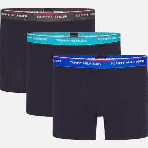 Tommy Hilfiger Men's 3 Pack Contrast WB Boxer Breifs - Dark Ash/Aquatic Teal/TH Electric Blue