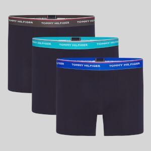 Tommy Hilfiger Men's 3 Pack Contrast WB Boxer Breifs - Dark Ash/Aquatic Teal/TH Electric Blue