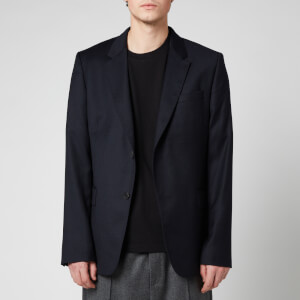 AMI Men's Wool Flannel Two Button Jacket - Navy