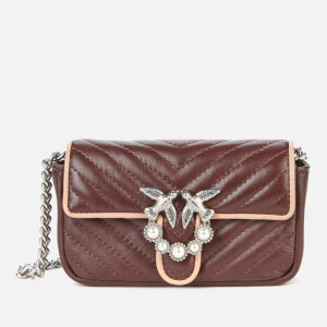Pinko Women's Love Tiny V Quilt Bag - Bordeaux/Pink