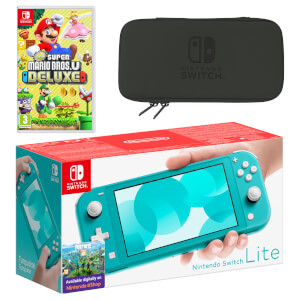Nintendo Switch Lite (Turquoise) New Super Mario Bros. U Deluxe Pack