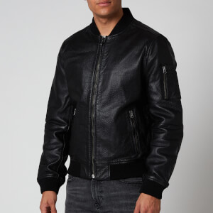 Superdry Men's Leather Bomber Jacket - Black