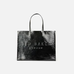 Ted Baker Women's Aevacon East/West Crinkle Patent Embossed Crosshatch Icon Bag - Black