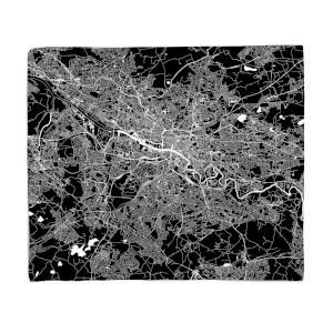 Negative Glasgow City Map Fleece Blanket