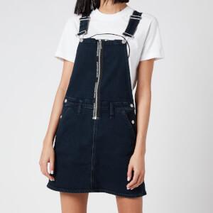 Calvin Klein Jeans Women's Dungaree Dress Zip - Blue Black Logo Zip