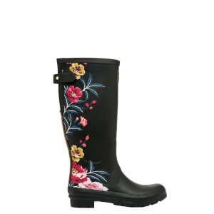 Joules Women's Tall Printed Wellies with Back Gusset - Black Border Floral