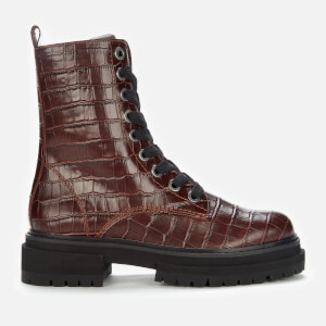 Kurt Geiger London Women's Siva Croc Print Leather Lace Up Boots - Wine