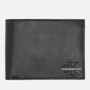 CK Jeans Men's Monogram Billfold Coin Wallet - Black
