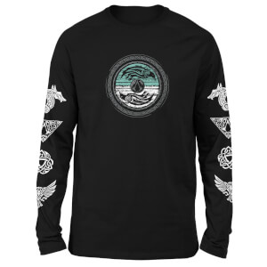 Assassins Creed Woodcut Circle Unisex Long SleeveT-Shirt - Black