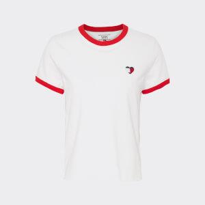Tommy Jeans Women's TJW Ringer Heart T-Shirt - Classic White