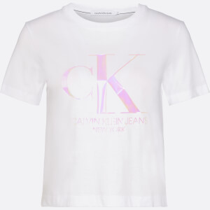 Calvin Klein Jeans Women's Iridescent Ck Straight T-Shirt - Bright White