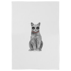 Summer Cat Cotton Tea Towel - White
