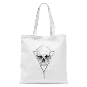 Skull In A Triangle Tote Bag - White