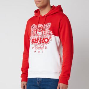 KENZO Men's Colorblocked Tiger Icon Hoodie - Medium Red