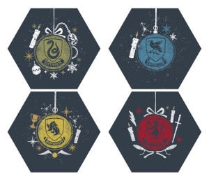 Harry Potter Hogwarts Houses Christmas Hexagonal Coaster Set