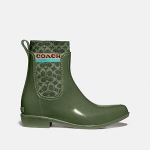 Coach Women's Rivington Rubber Rain Boots - Bronze Green