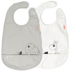 Done by Deer Bib - Deer Friends - 2 Pack - Grey/Beige