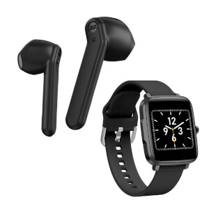 Mixx Streambuds AX TWS Earphones - Black + Smart Watch - Bundle