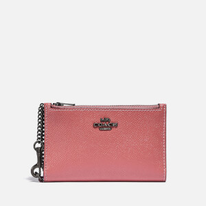 Coach New York Women's Colorblock Leather Zip Chain Card Case - Vintage Pink Multi