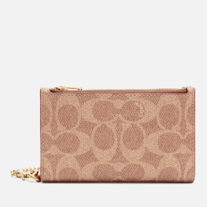Coach New York Women's Signature Zip Chain Card Case - Tan Rust
