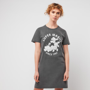 Nintendo Super Mario & Wiggler Women's T-Shirt Dress - Black Acid Wash