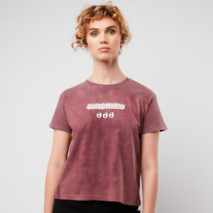 Nintendo Super Mario & Yoshi Women's Cropped T-Shirt - Burgundy Acid Wash