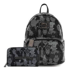 Loungefly Disney Villians Debossed Aop Mini Backpack and Wallet Set