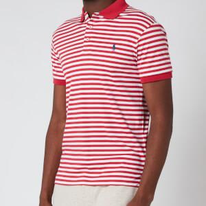 Polo Ralph Lauren Men's Interlock Striped Slim Fit Polo Shirt - Sunrise Red/White