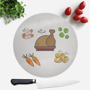 Christmas Dinner Round Chopping Board