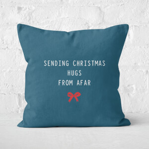 Sending Christmas Hugs From Afar Square Cushion