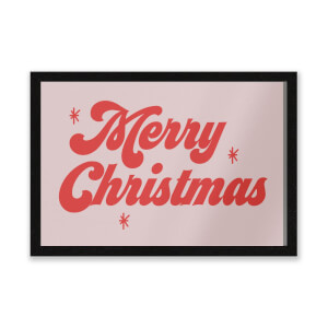 Merry Christmas Red Entrance Mat
