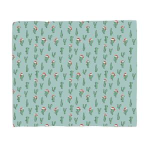 Christmas Cactus Pattern Fleece Blanket