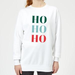 Graphical Ho Ho Ho Women's Sweatshirt - White