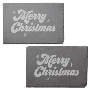 Merry Christmas Engraved Slate Placemat - Set of 2