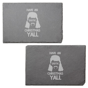 Exotic Christmas Engraved Slate Placemat - Set of 2