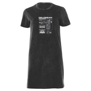 Back To The Future Delorian Women's T-Shirt Dress - Black Acid Wash