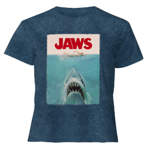 Jaws Classic Poster - Women's Cropped T-Shirt - Navy Acid Wash