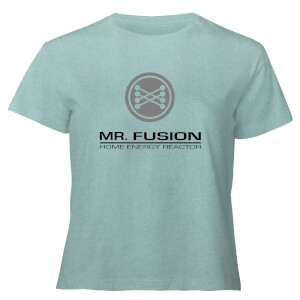 Back To The Future Mr Fusion - Women's Cropped T-Shirt - Mint Acid Wash
